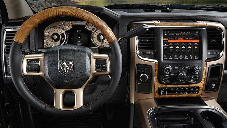 steering wheel and dashboard view of the 2016 Ram 2500
