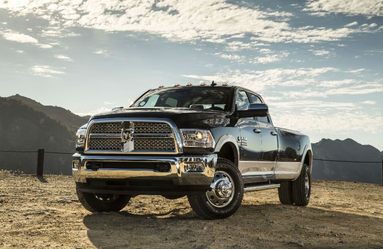 black 2017 Ram 3500 standing against the sky