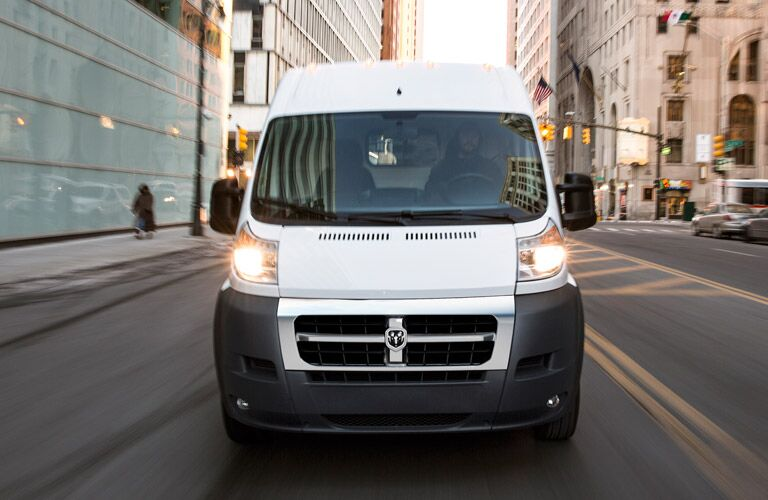 front view of the 2016 Ram ProMaster cargo van in the city
