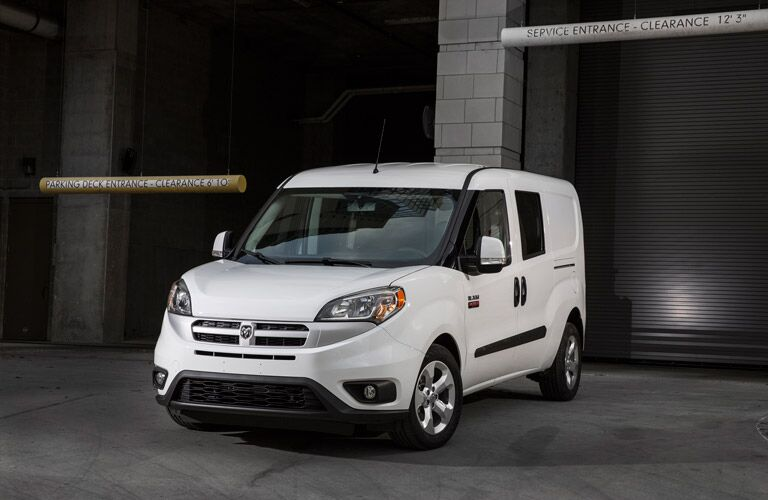 white 2016 Ram ProMaster City parked before a parking department
