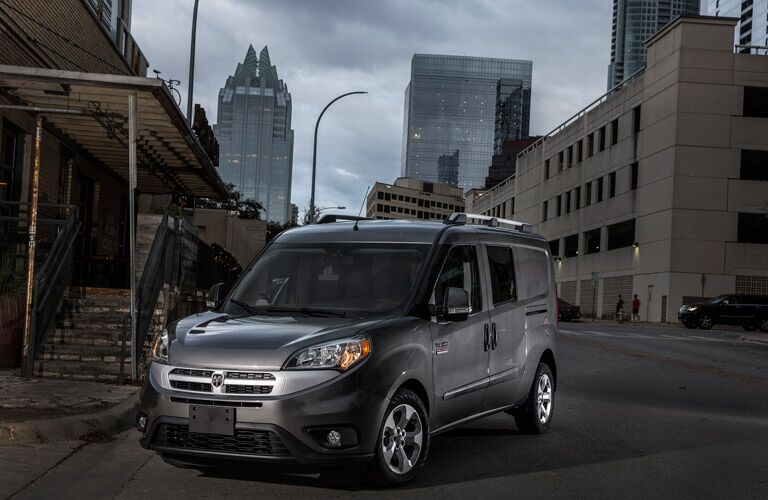 grey 2016 Ram ProMaster City in the city street