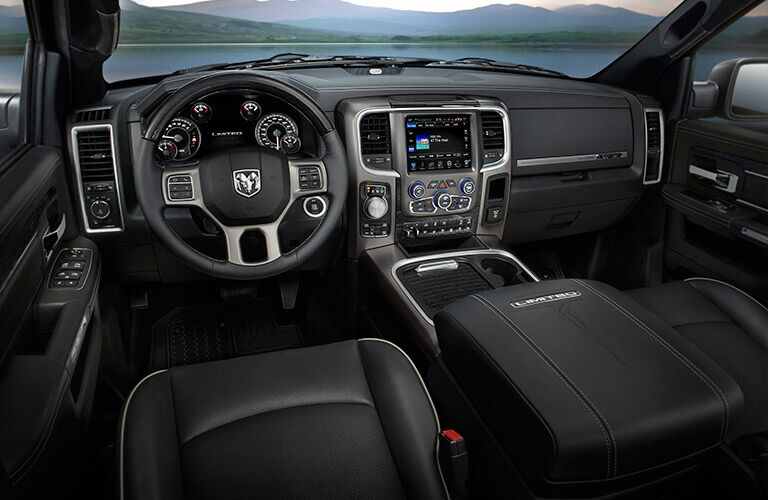 steering wheel and dashboard of the 2017 Ram 1500