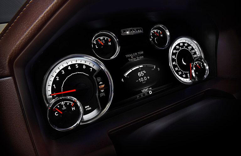 elite driver-assistance gauge cluster on the 2017 Ram 1500 Big Horn and Sport trims