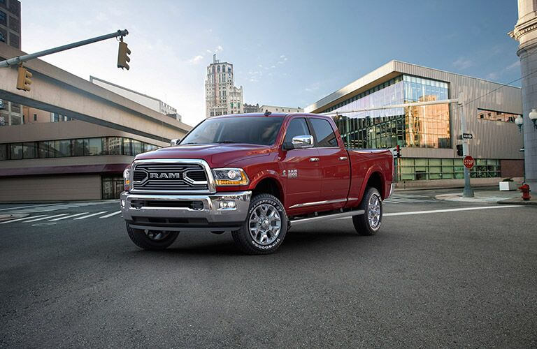 red 2017 Ram 2500 in the city