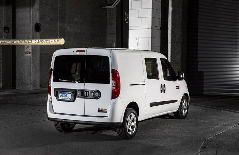 rear view of a white 2017 Ram ProMaster City in a parking garage