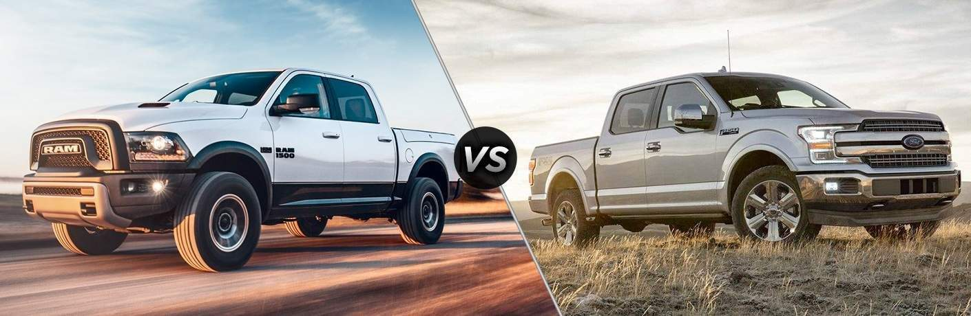 side by side images of the 2018 Ram 1500 and 2018 Ford F-150