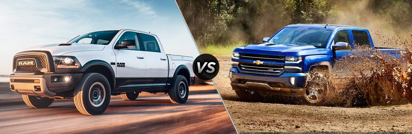 "image showing a 2018 Ram 1500 vs 2018 Chevy Silverado comparison with each vehicle on one side with a ""vs"" between them"