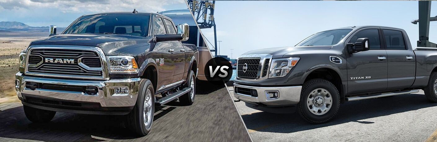 comparision image of the 2018 Ram 2500 and 2018 Nissan Titan XD