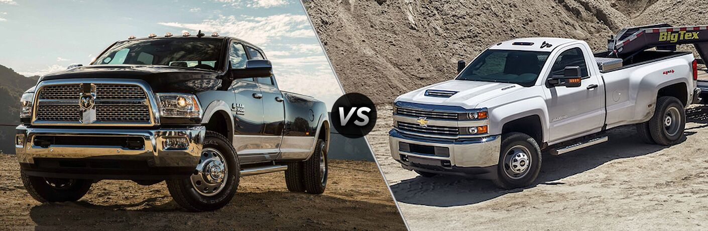 side by side images of the 2018 Ram 3500 and 2018 Chevy Silverado 3500HD
