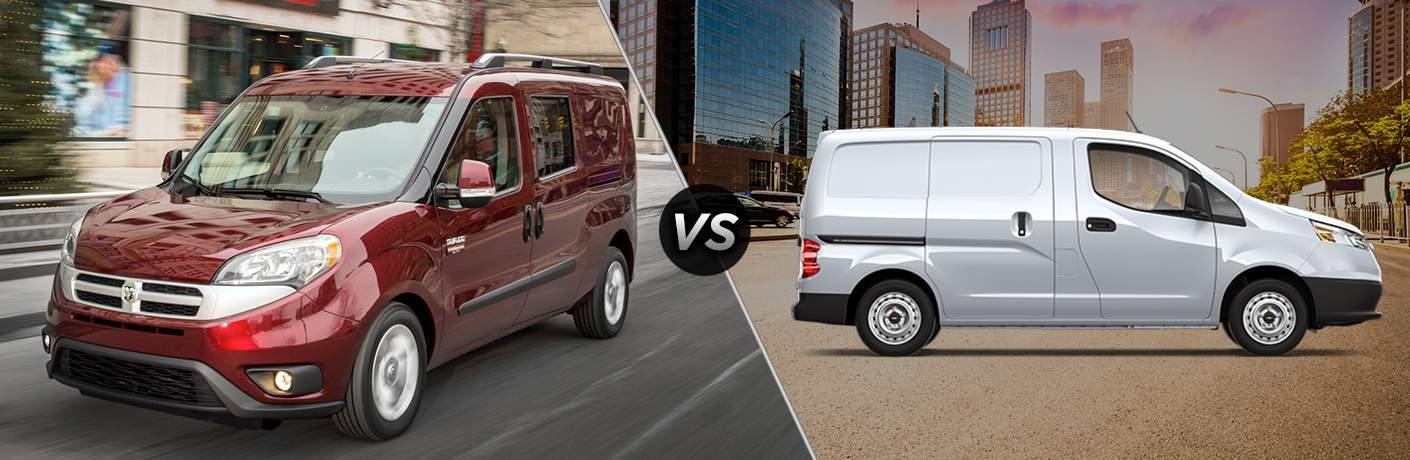 a red 2018 Ram ProMaster City and a white 2018 Chevy City Express sharing space in a comparison image