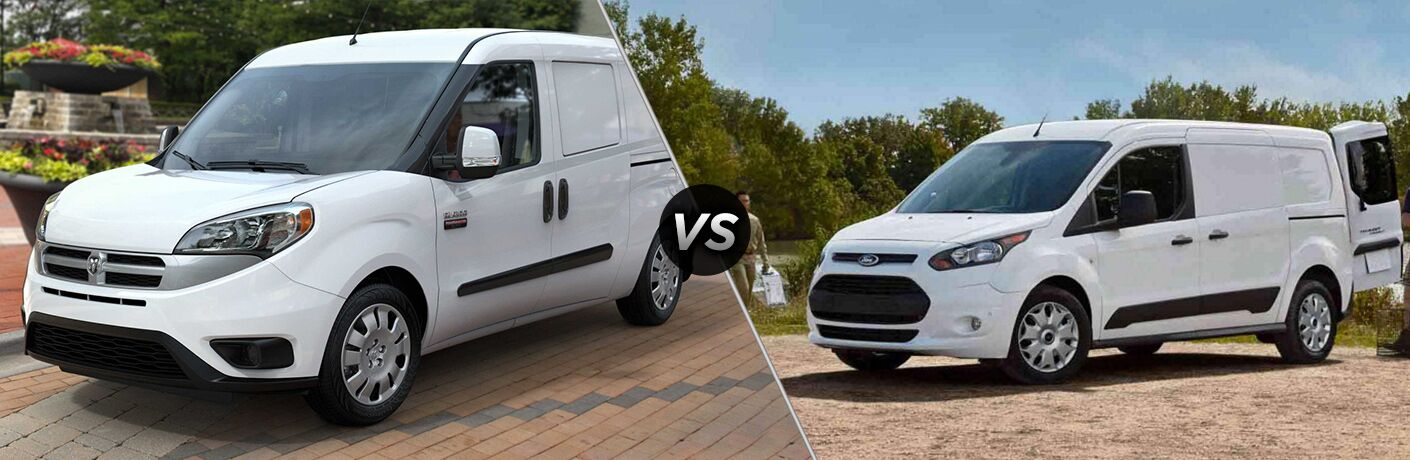 side by side images of white 2018 Ram ProMaster City and 2018 Ford Transit Connect cargo vans
