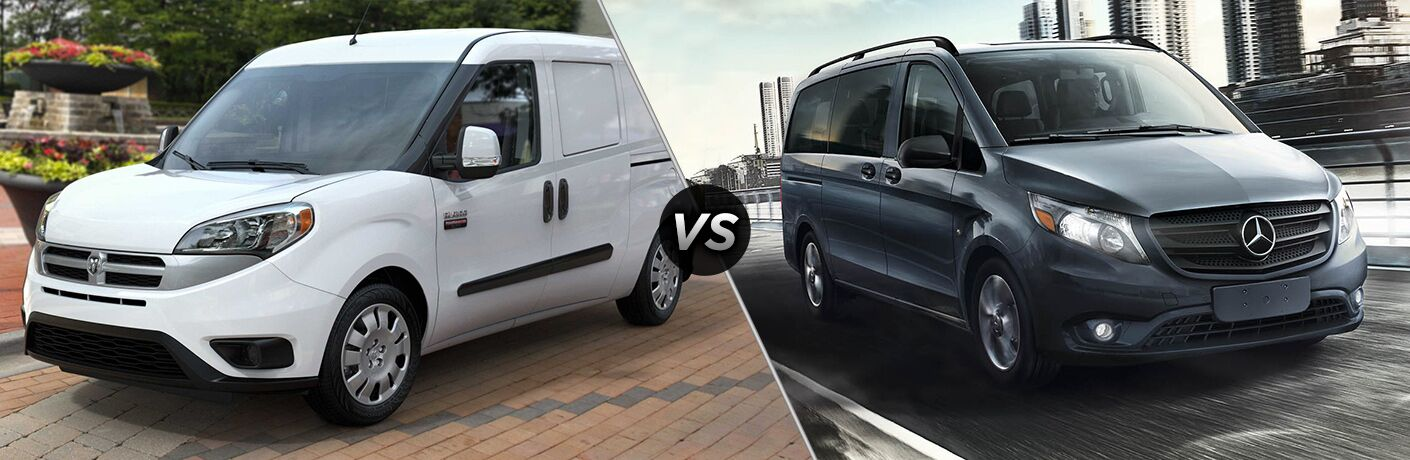 2018 Ram ProMaster City and 2018 Mercedes-Benz Metris in a side by side image