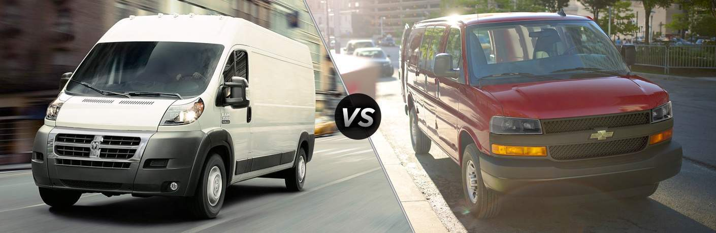 side by side images of a white 2018 Ram ProMaster and a red 2018 Chevy Express