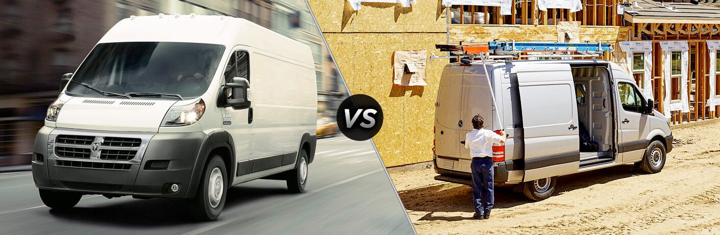 side by side images of the 2018 Ram ProMaster and 2018 Mercedes-Benz Sprinter