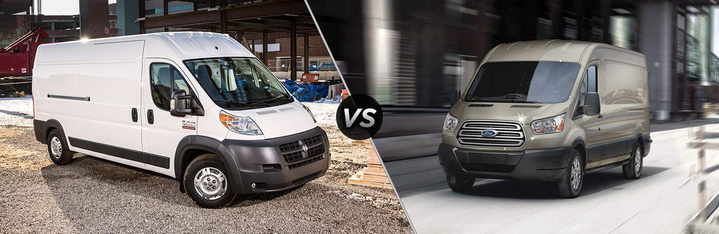 side by side 2018 Ram ProMaster and 2018 Ford Transit cargo van images