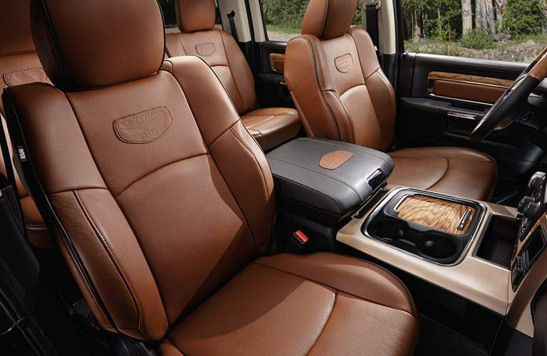 brown upholstery on the seats of the 2018 Ram 1500