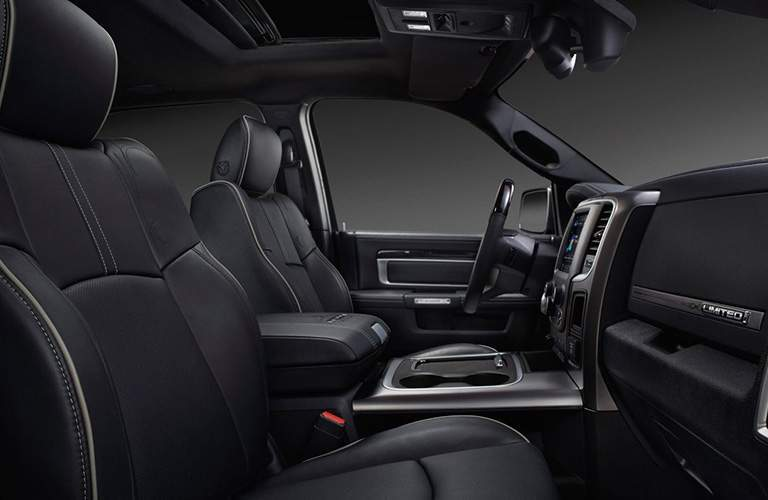 black front seats and steering wheel of the 2018 Ram 2500
