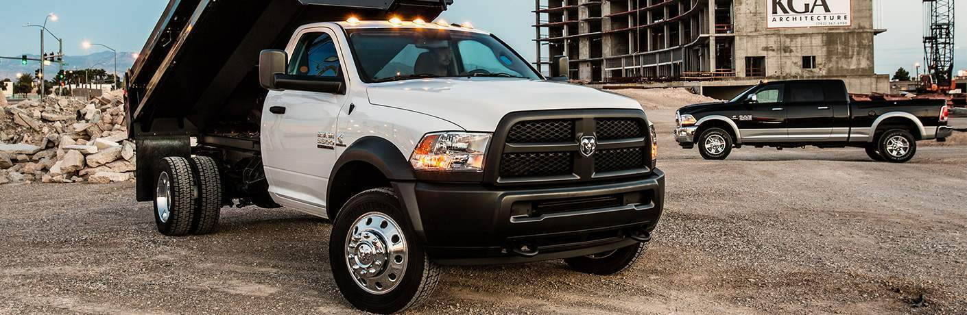 white 2018 Ram 5500 Chassis Cab with a dump-truck rear