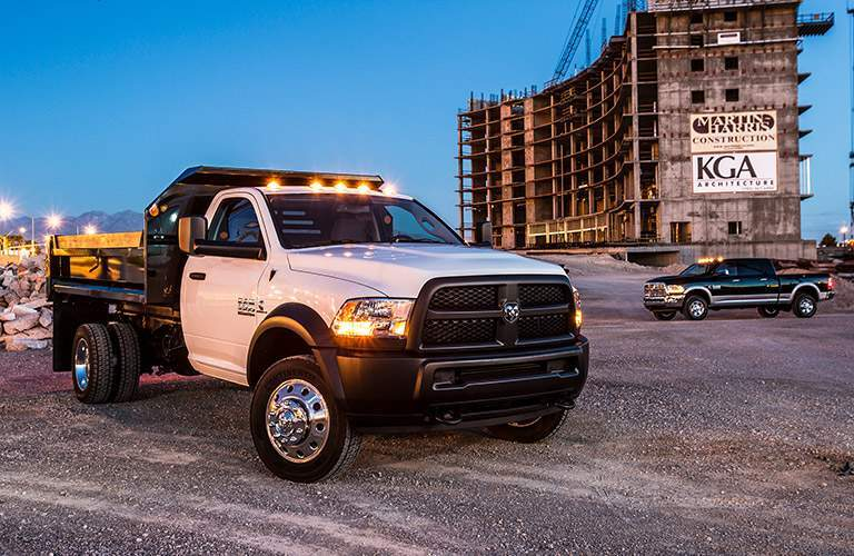 2018 Ram 5500 Chassis Cab on a work site at night