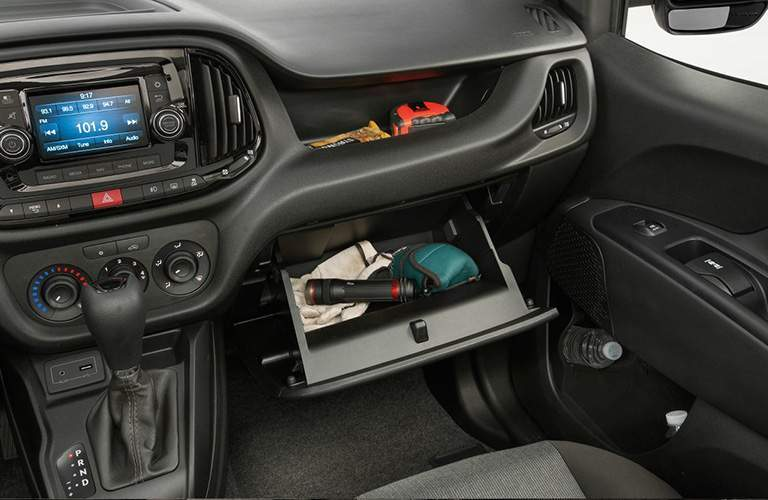 glovebox and cubbies of the 2018 Ram ProMaster City