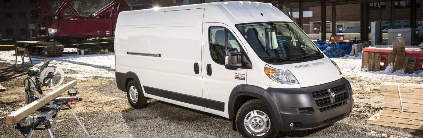 white 2018 Ram ProMaster Cargo Van on the worksite
