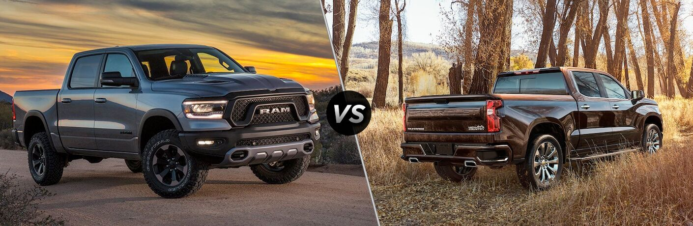side by side images of the 2019 Ram 1500 and the 2019 Chevy Silverado
