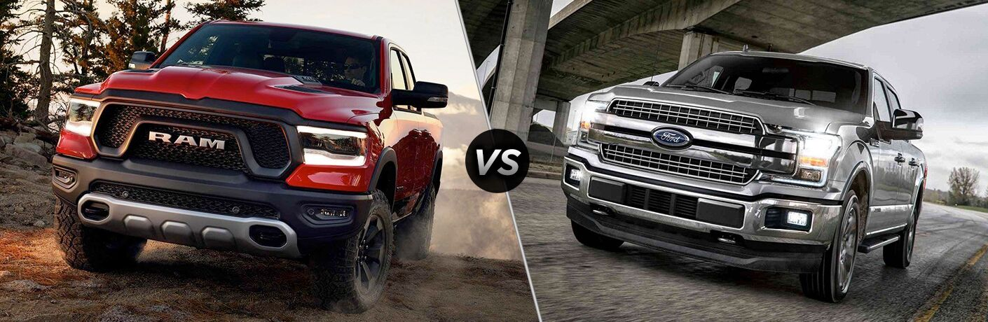 Red 2019 RAM 1500 next to silver 2019 Ford F-150