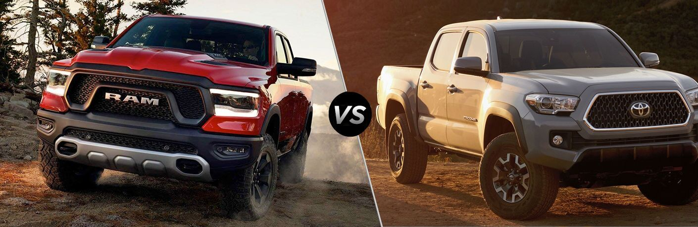 Red 2019 Ram 1500 and silver 2019 Toyota Tacoma