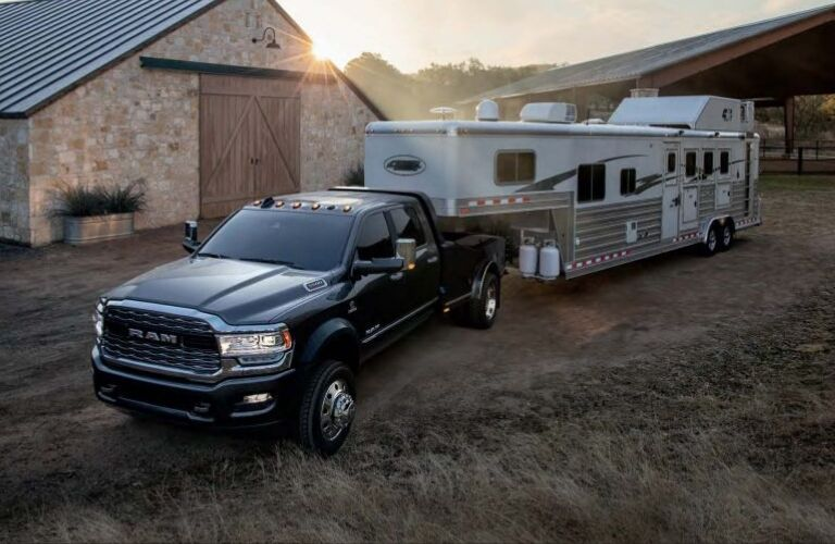 2019 Ram 5500 Chassis Cab hauling camper