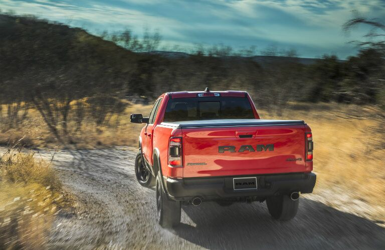 rear view of the 2019 Ram 1500 Rebel in the wilderness