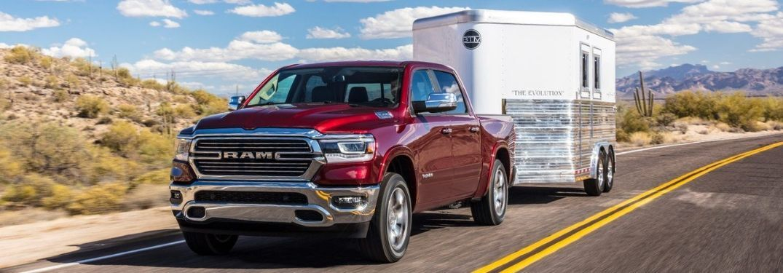 2019 Ram 1500 Laramie hauling trailer