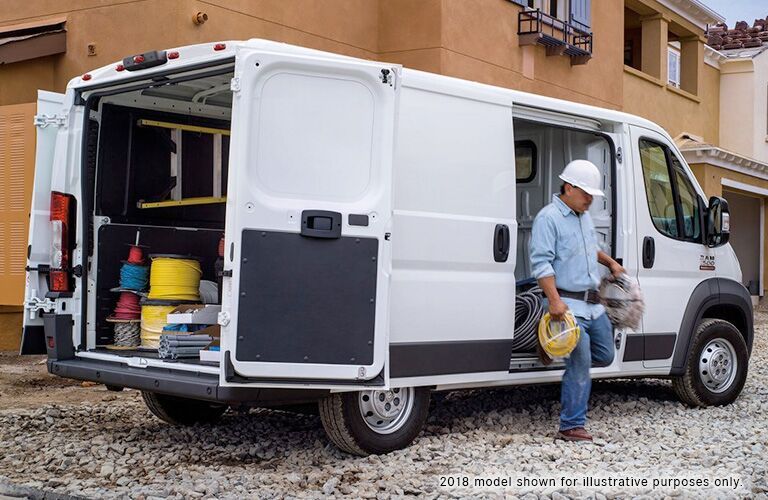 side of the 2019 Ram ProMaster Cargo Van loaded with gear