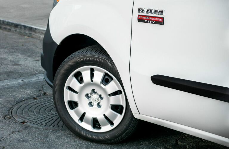 2019 Ram ProMaster City Cargo Van front wheel close-up
