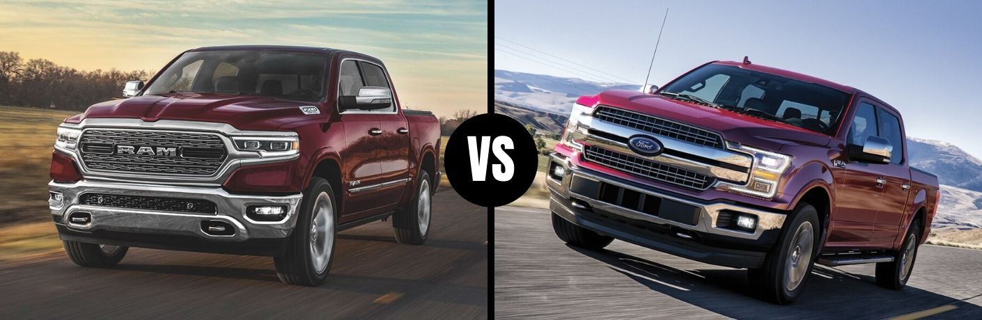 Comparison image of a red 2020 RAM 1500 and a red Ford F-150