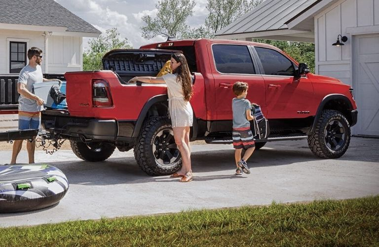 Exterior view of the rear of a red 2020 RAM 1500