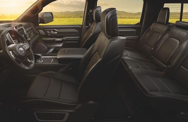 Interior view of the black seating inside a 2020 RAM 1500