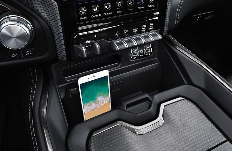 Interior view of the wireless charger inside a 2020 RAM 1500