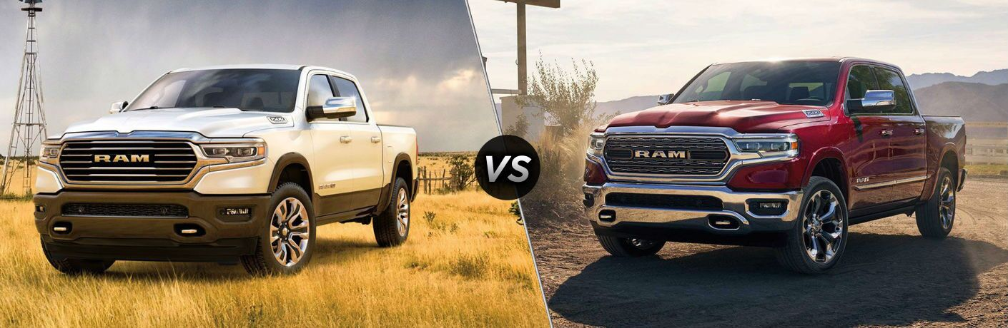 Comparison image of a white 2020 RAM 1500 and a red 2019 RAM 1500