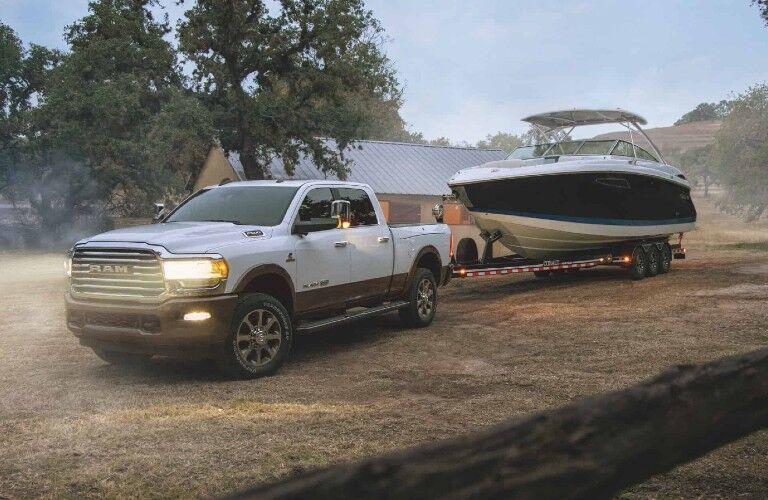 2021 RAM 2500 towing a speedboat