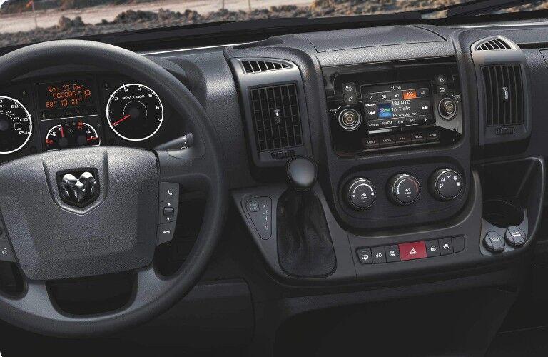2021 RAM ProMaster Cargo Van dashboard and steering wheel