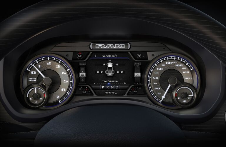 Vehicle information gauges in 2019 Ram 2500