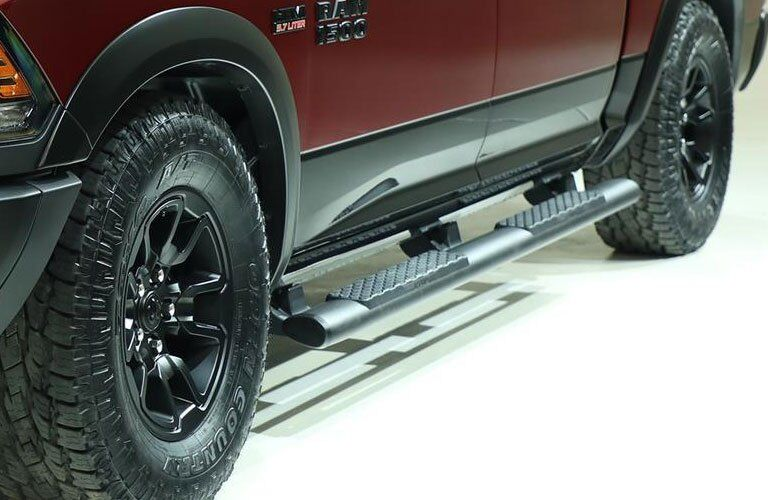 close-up on running boards on a Ram truck