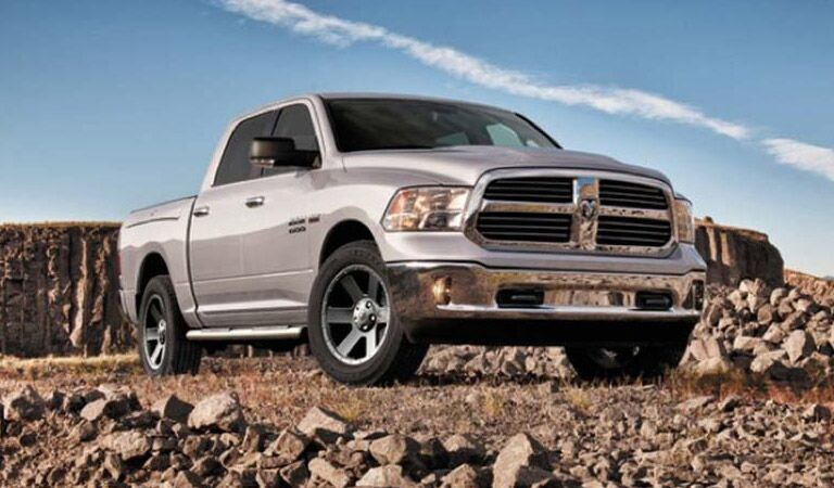 2016 Ram 1500 parked dramatically over rocks