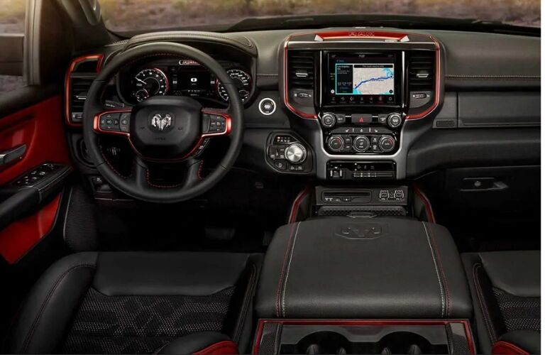 Black and red dashboard accents in 2019 Ram 1500 Rebel