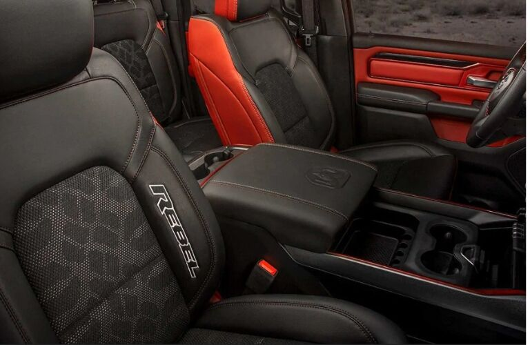 Black and red seating in 2019 Ram 1500 Rebel