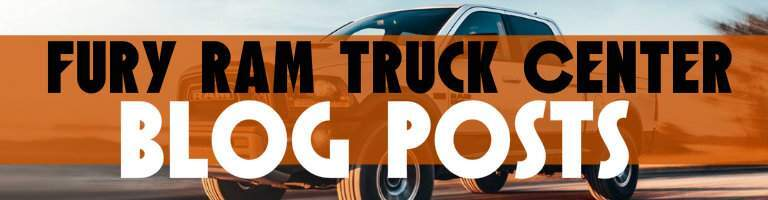 """Fury Ram Truck Center Blog Posts"" title over orange bar and Ram truck"