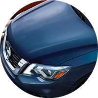 blue 2017 Nissan Pathfinder hood top closeup