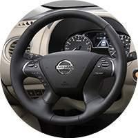 2017 Nissan Pathfinder steering wheel closeup