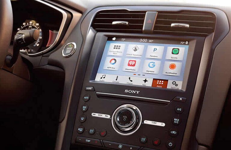 Close up of the 2017 Ford Fusion's touchscreen display
