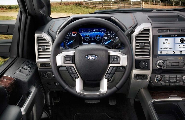 Steering wheel and touchscreen of 2018 Ford F-350 Super Duty